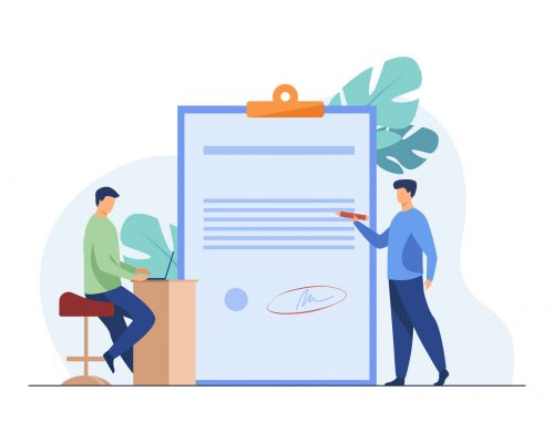 Expert checking business leader order. Tiny character with pencil reading document flat vector illustration. Paperwork, legal expertise concept for banner, website design or landing web page
