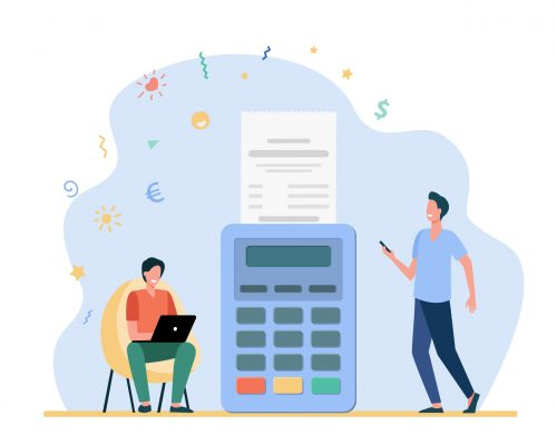 Man paying online and getting sales slip. Receipt, laptop, terminal flat vector illustration. Payment and money transaction concept for banner, website design or landing web page