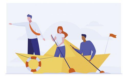 Business team rowing boat. Leader pointing hand forward flat vector illustration. Teamwork, travel, leadership concept for banner, website design or landing web page