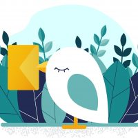 Bird and letter. Delivery of the message. Vector illustration.